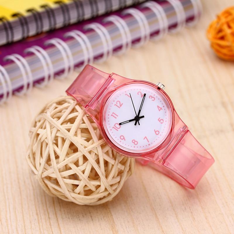 Reloj Children's Watches Boy Girl Simple Transparent Silicone Fashion Quartz Watch 30m Life Waterproof Clock Montre Enfant