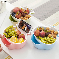 Christmas Gift Double Layer Plastic Container Home Organizer Drying Fruit Basket Drain Basket Seeds Candy Bowl Basket for Fruit
