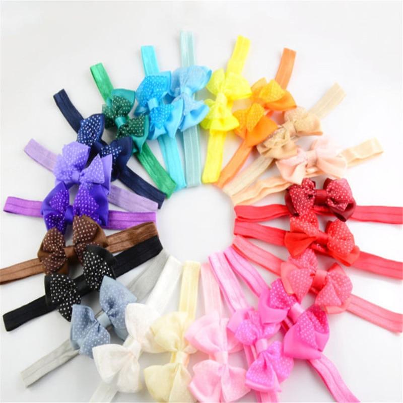 10pcs Mini Bowknot Hairband Baby Kids Girls Elastic Headband birthday gift bow headband baby care Lovely Kids Elastic Turban