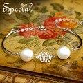 Especial Nueva Moda Perlas Naturales Pulsera y Brazalete de Plata de ley 925 Pulsera para Niñas Mujeres que Envían Libremente SL150327