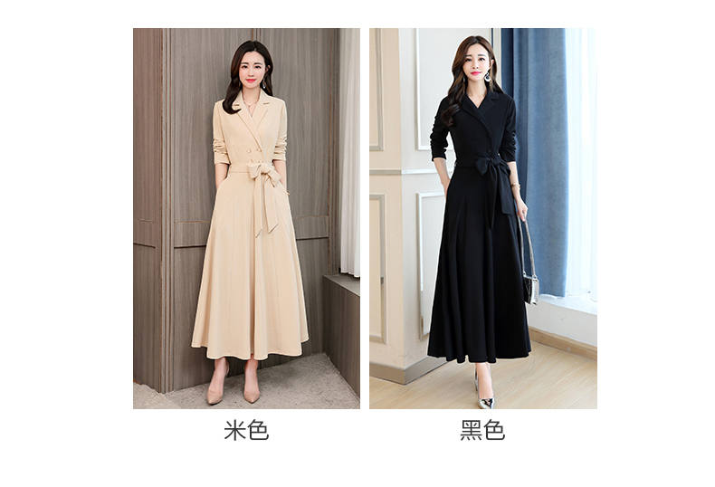 Spring and Autumn 2019 New Women's Dresses Korean Edition Long Sleeve Dresses Overlap Long Popular Temperament with Bottom 119