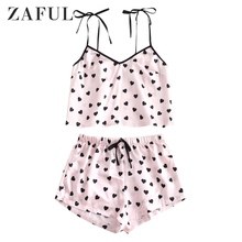 купить ZAFUL Heart Print Cami Bowknot Crop Top And Shorts Pajama Sets Summer Spaghetti Strap Sleeveless Camisole Lounge Women Nightwear по цене 1346.12 рублей