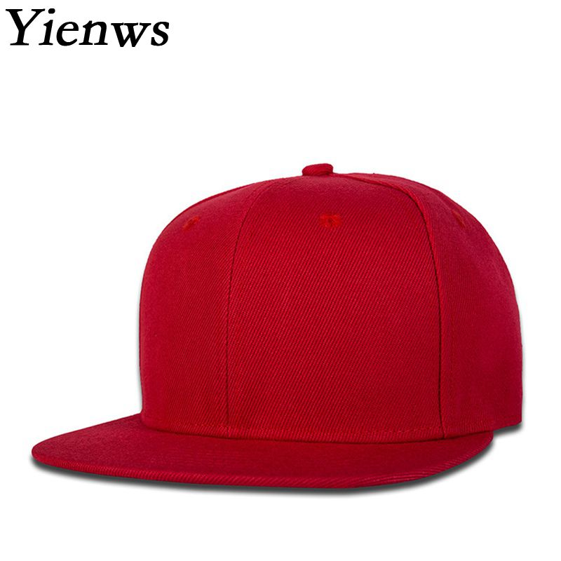 Yienws Red Flat Baseball Cap For Women Summer Sun Hat Hip Hop Snapback Cap Gorras Mujer Black Cap Femme YH391 military hat flat cap m177