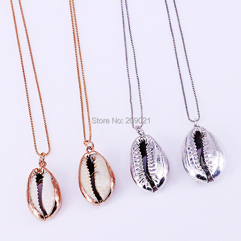 High Quality 10Pcs Fashion New Style gold silver color nature Conch shell charm pendant necklace for