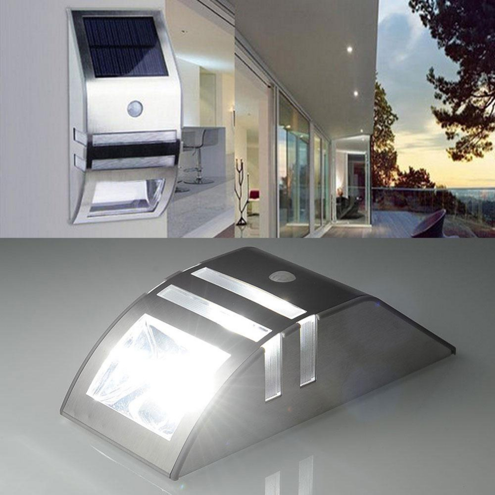 LightInBox Solar Power Recharge Stainless PIR Human Motion Sensor Wall Silver Outdoor Security Emergency Light Lampe Solaire