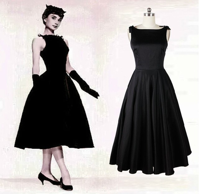 Audrey Hepburn Vintage Style 50s Dresses Little Black Mid Length