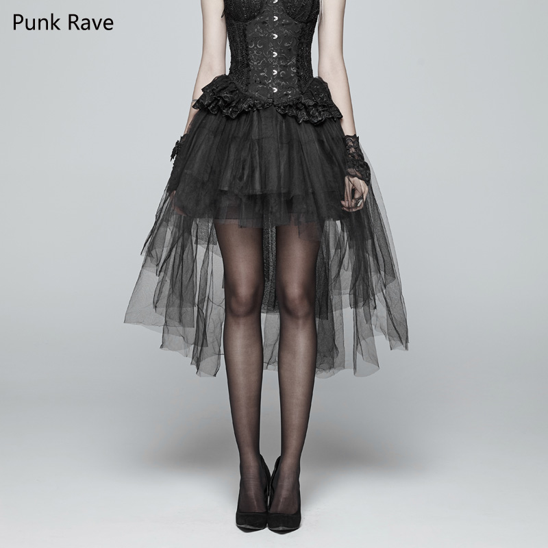 Mooi Punk Rave Vrouwen Bubble Rok Lolita Stijl Zwart Casual Hollow Out Mesh Victoriaanse Fashion Party Stage Performance Kostuums