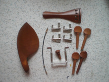 4 Sets Jujube Violin fitting 4/4 with Silver color string adjuster & Silver color chin rest screw & Tail gut