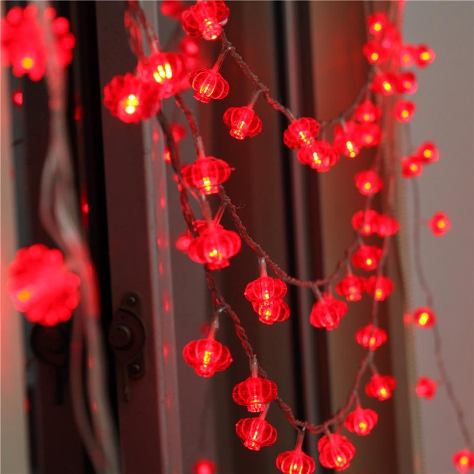 Portable battery powered 10 meter 80 pcs led red lantern - Led lights decoration ideas ...