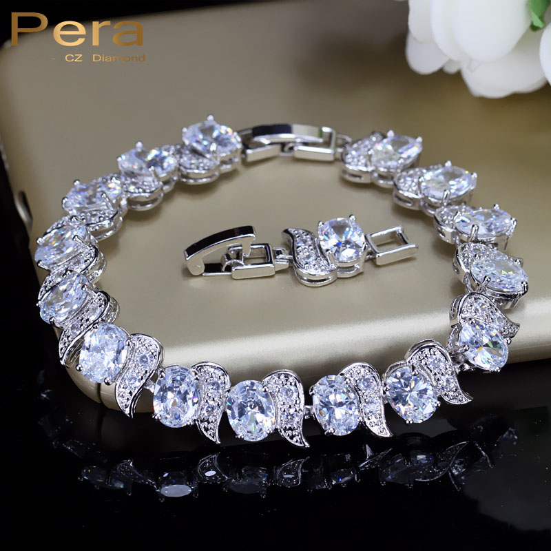 Pera Mewah 925 Sterling Silver Bridal Wedding Party Jewelry Super White Cubic Zirconia Rantai & Link Gelang Untuk Pengantin B081