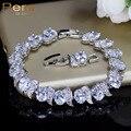 Pera lujo 925 Plata de Ley nupcial boda fiesta joyería Super blanco Zirconia cúbica cadena y enlace pulsera para novias B081