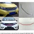 Для Honda FIT JAZZ 2014 2015 2016 автомобильный Стайлинг накладка на корпус бампер двигателя ABS Хромированная Отделка Передняя Нижняя решетка рама 1 шт