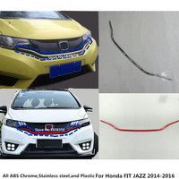 For Honda FIT JAZZ 2014 2015 2016 Car styling body cover Bumper engine ABS Chrome trim Front bottom Grid Grill Grille frame 1pcs