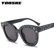 YOOSKE Rhinestone Sunglasses Women Brand Designer Round Crystal Star Frames Sun Glasses Ladies Luxury Pink Shades Eyeglasses