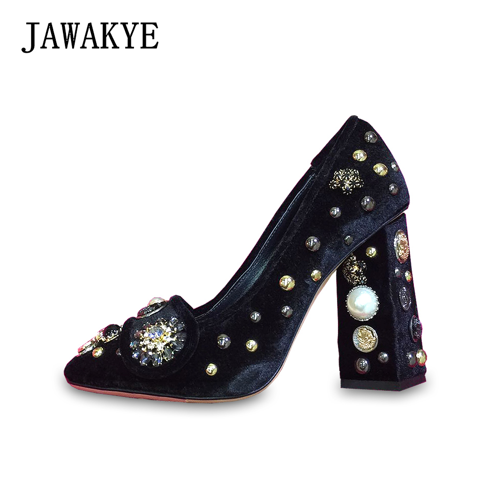 JAWAKYE Retro Rhinestone Studded Velvet Women Pumps Court style Chunky high heels Shoes Blue Red Wedding Shoes lady party shoes