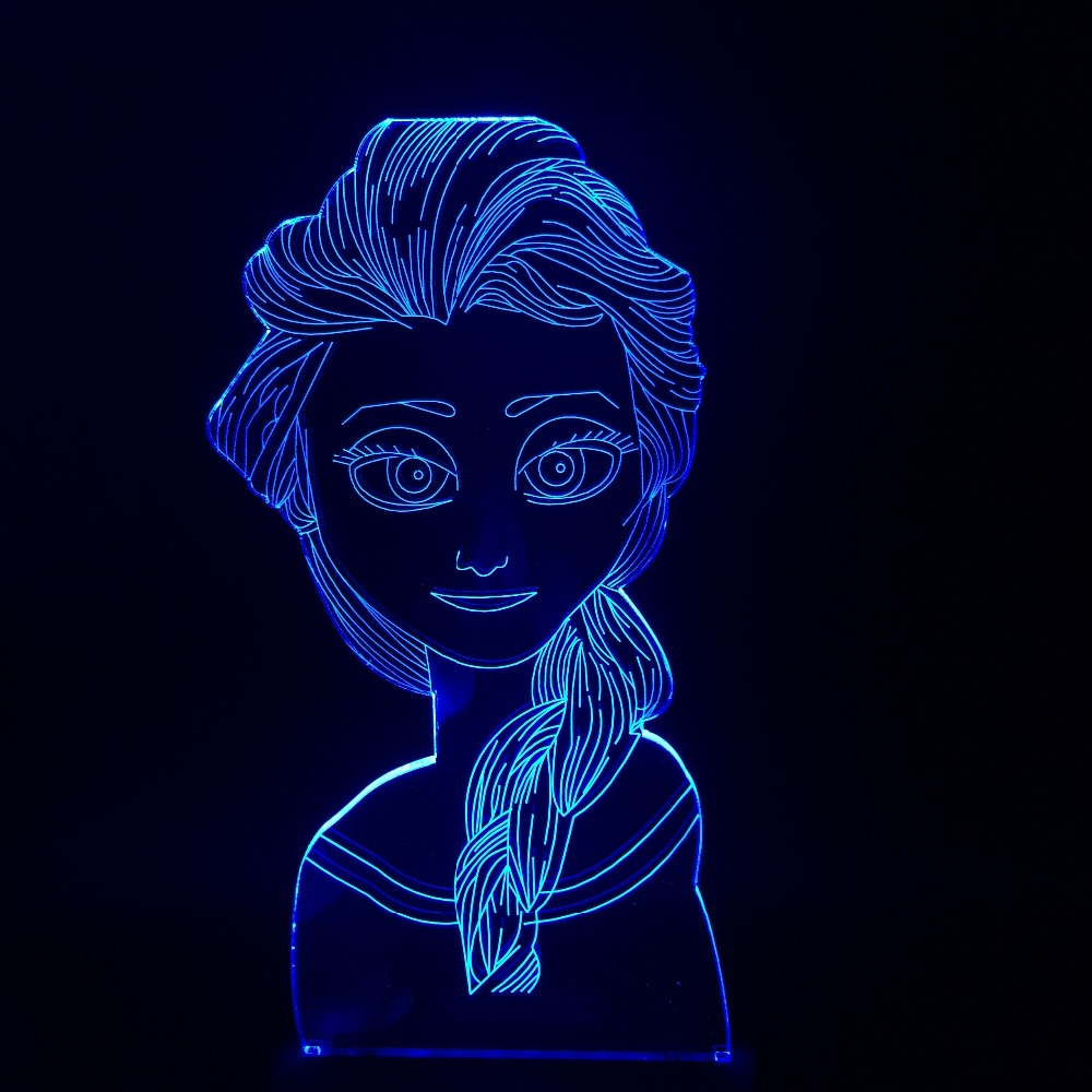 HOT Cartoon Figure 3D USB LED Lamp Princess Elsa Queen Multicolor Change Mood Visual RGB Night Light Table Beauty Girl Gift Prop 3d led visual colorful usb table lamp