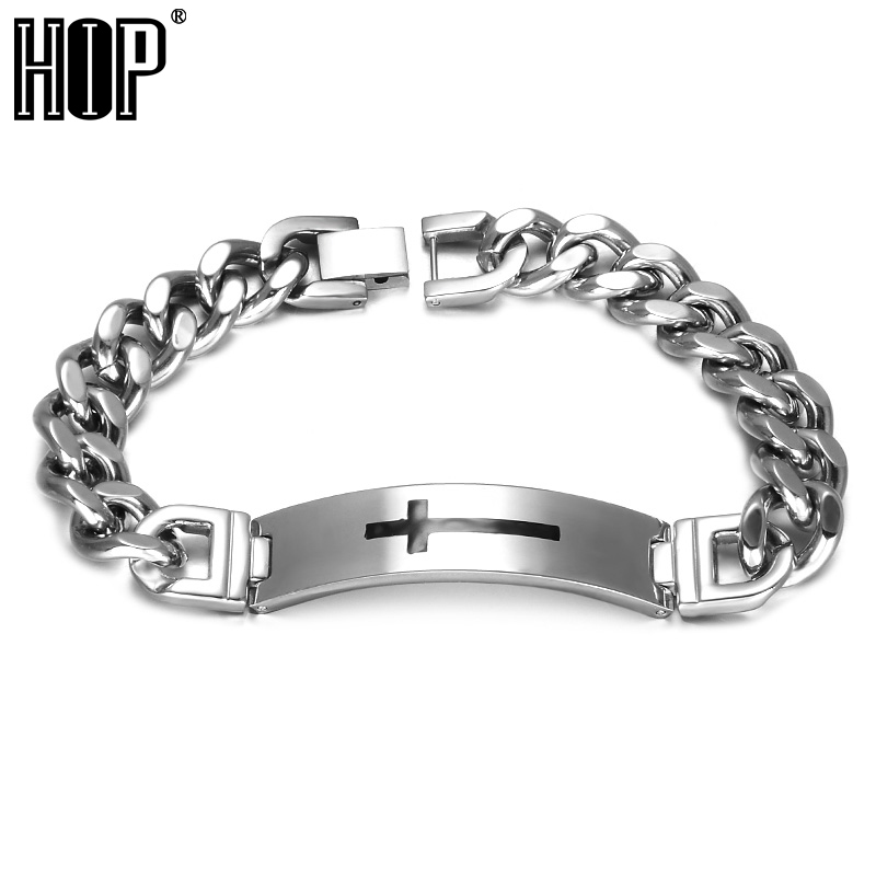 HIP 316L Stainless Steel Cross Pattern Cuban Bracelet Silver Color Link Chain Bracelets Bangles for Men Christian Jewelry