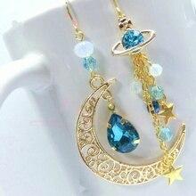 Gold Star Sun Moon Crystal Stud Dangle Pretty Funky Earrings China