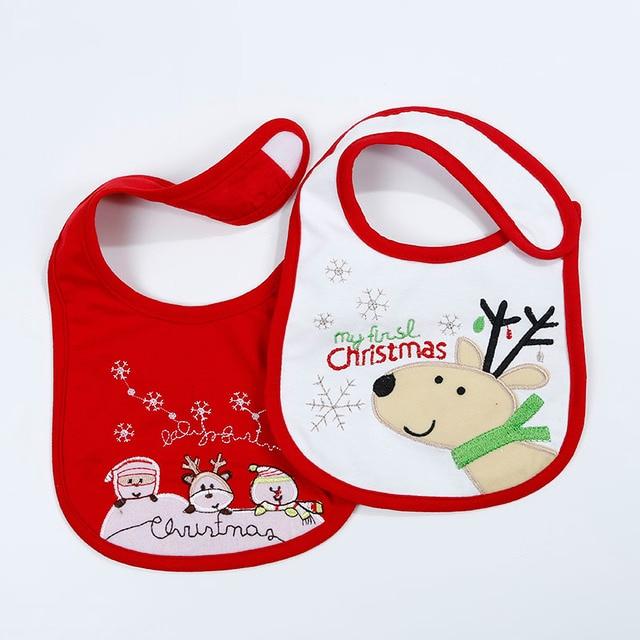2pcs/lot Baby Christmas Waterproof Bibs Infant Newborn Cartoon Cotton Saliva Towel Boys Girls Kids Cute Lovely Burp Cloths
