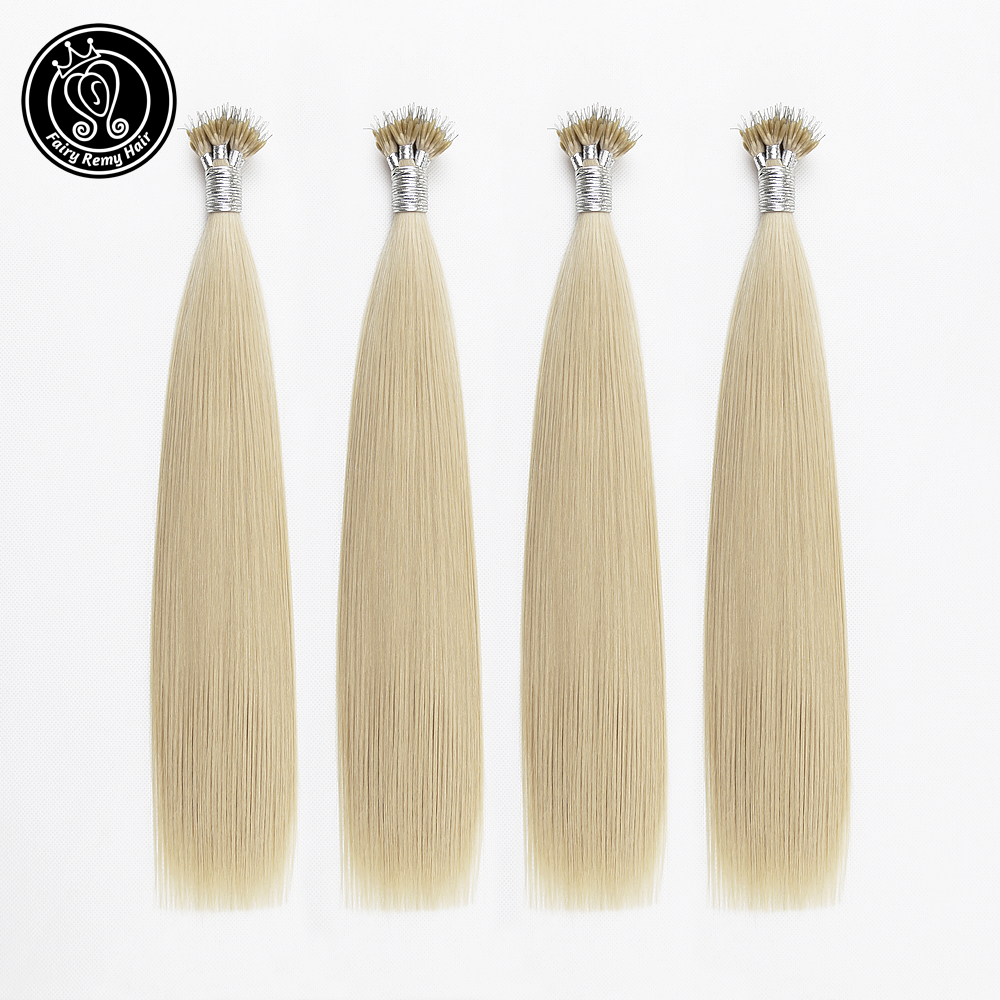 Fairy Remy Hair 0.8g/s Real Remy Nano Ring Human Hair Extensions Blonde Color #22 Double Drawn Micro Nano Beads Hair On Capsule