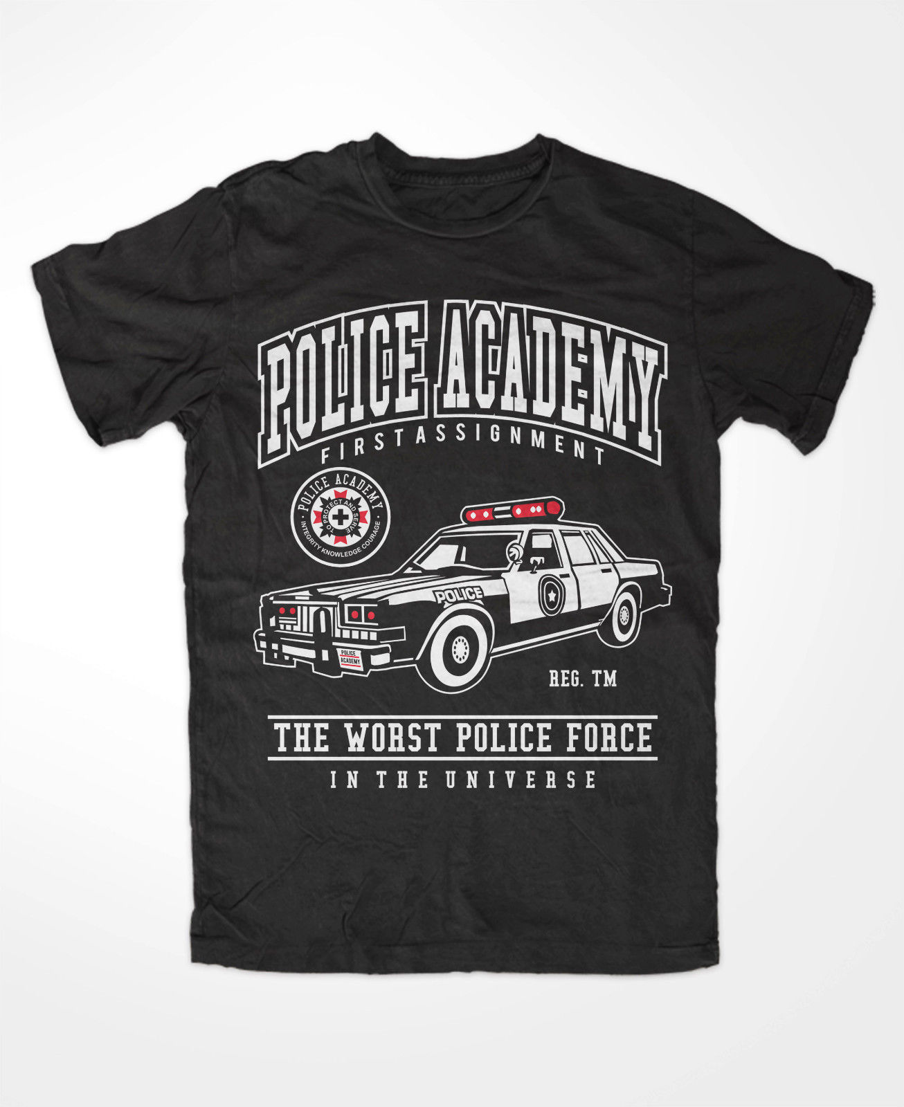 T Shirt Men O-Neck Tops Tees Summer Police Academy Premium-Tshirt ,80`S, Lassard, Retro,Cop, Comedy, Movie,Hightowermens Tees image