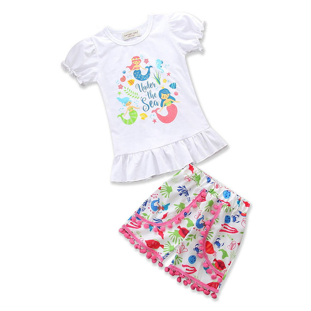 a4c923392a9e Little Mermaid Toddler Kids Girls Clothes Short Sleeve T-shirt Tops+Tassel  Shorts Hot Pant Outfits Floral Clothing Sets 1-5Y