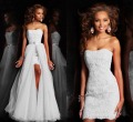 2015 New Design High Low Short Strapless Pure White Wedding Dress Bridal Gown With Detachable removeable Skirt crystal lace