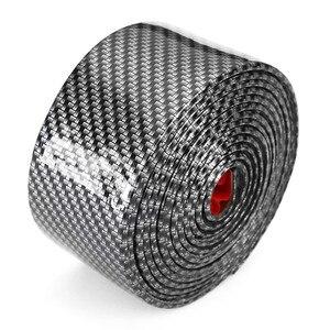 Image 1 - 2.5m Carbon miękki czarny zderzak taśmy z włókna węglowego DIY na drzwi zabezpieczenie progu osłona krawędzi naklejki samochodowe akcesoria samochodowe do stylizacji #290440