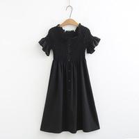 Pleated A line Dress Women Vestidos Stretch Casual Ruffles Flare Short Sleeve Midi Summer Dress Black KKFY3581