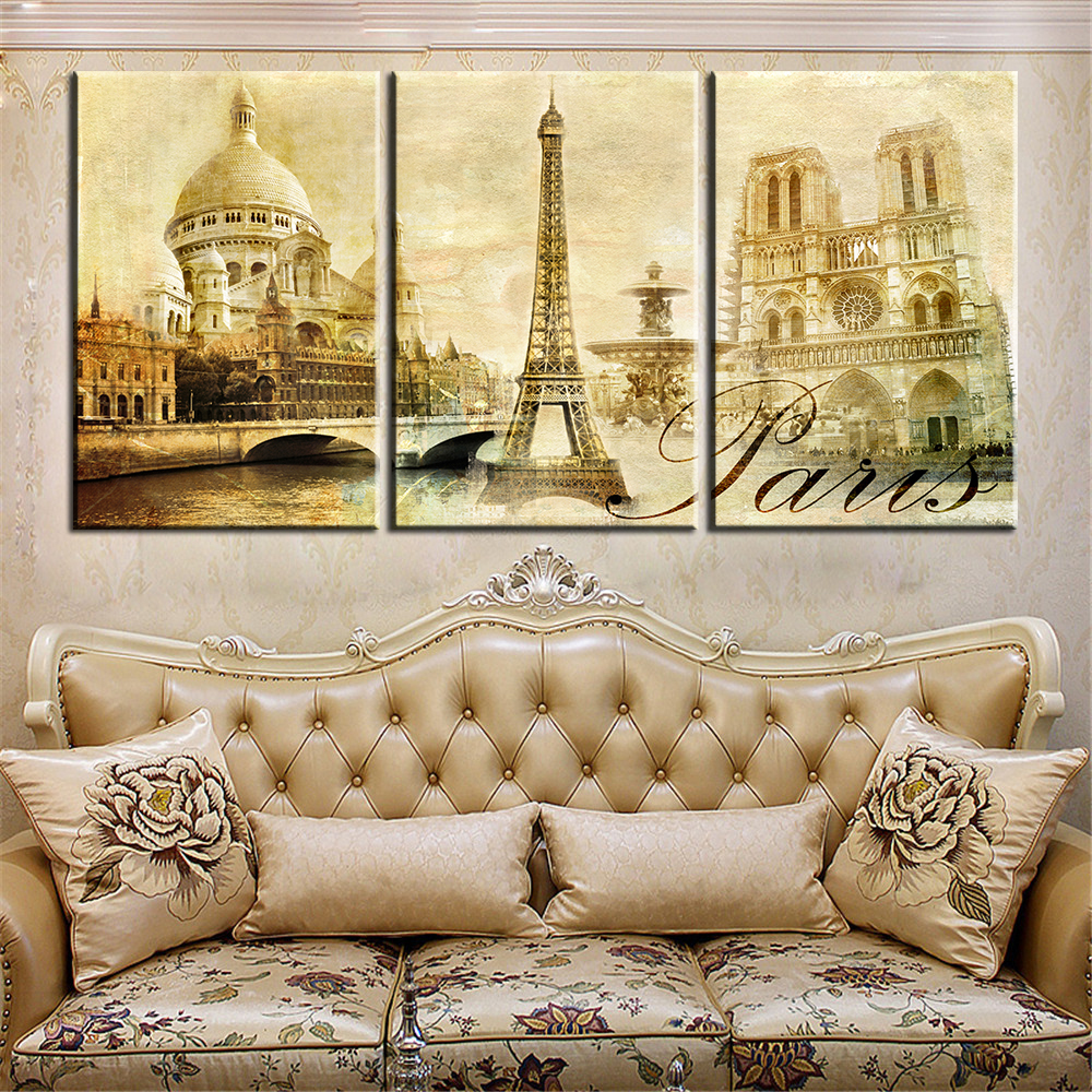 ᐅ3 Panel Modern Paris Effiel Tower Painting Picture City Building ...