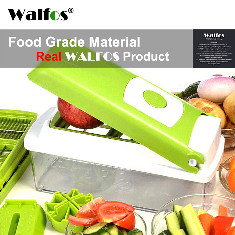 WALFOS 12 pieces Multifunctional Slicer Vegetable Cutter Mandoline Slicer With Interchangeable Stainless Steel Peeler Grater