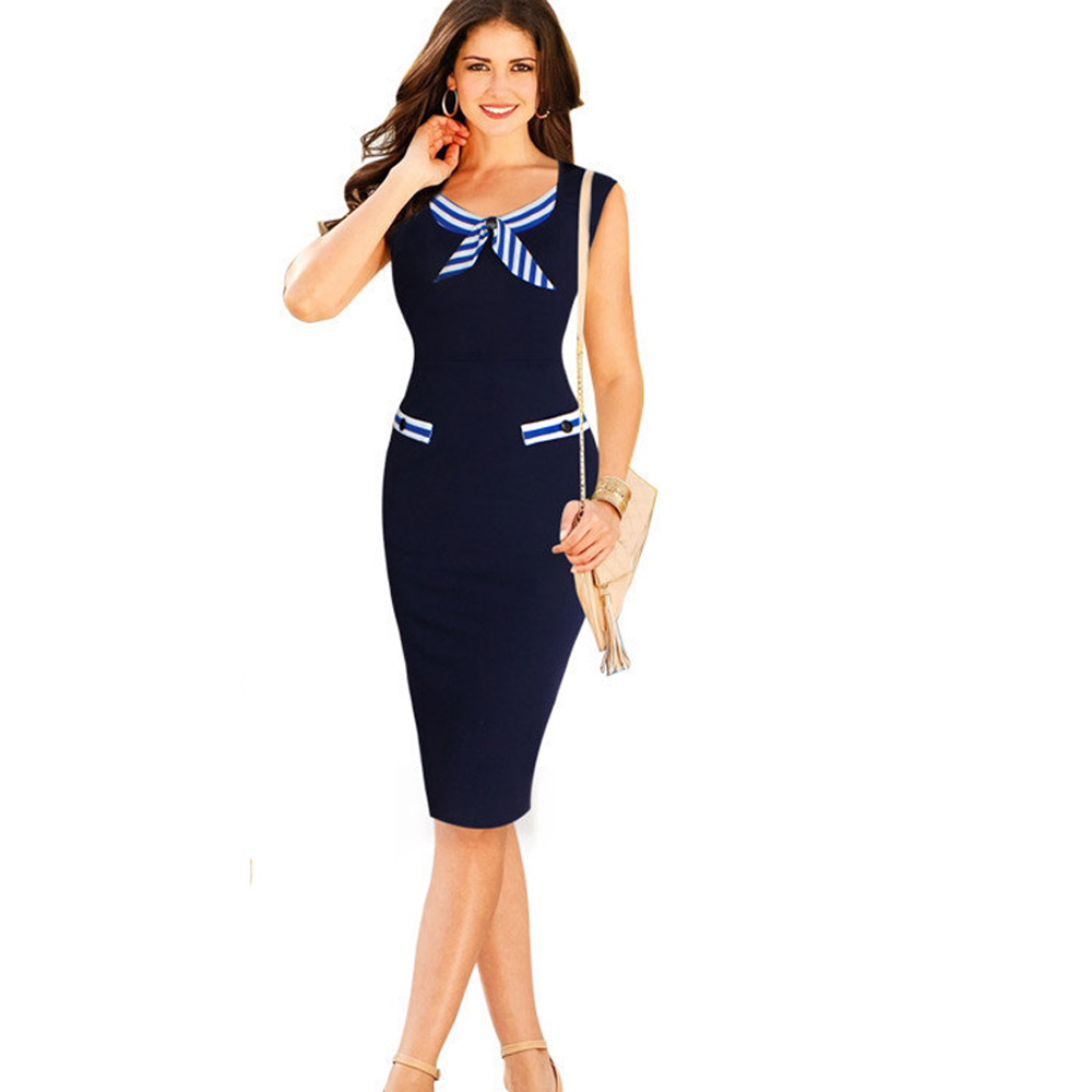 office dresses for women 2016 new work wear dress for office party causal nautical navy blue. Black Bedroom Furniture Sets. Home Design Ideas