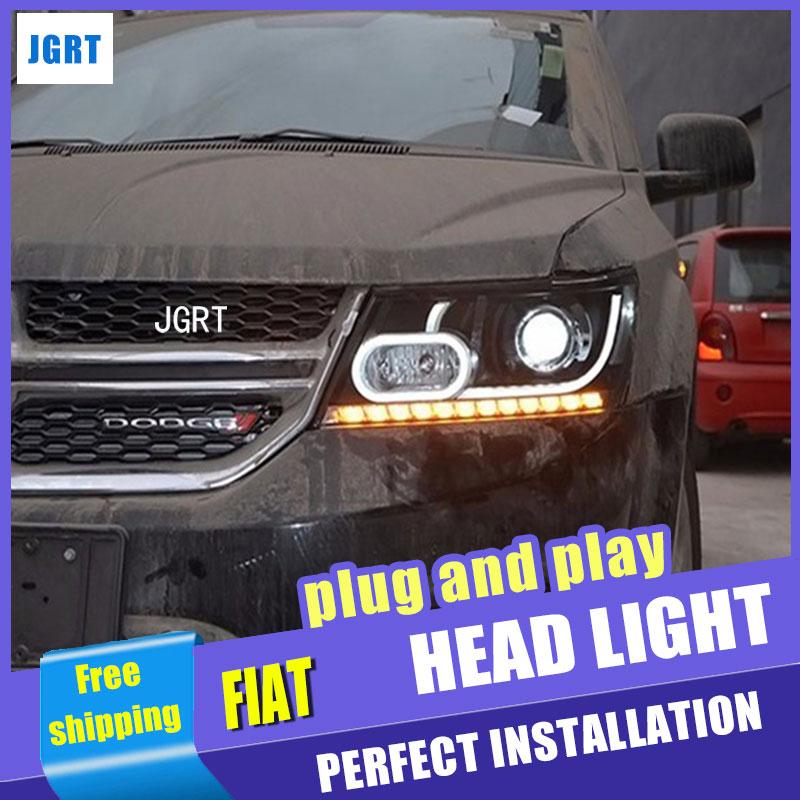 Стайлинга автомобилей для Фиат Фримонт светодиодов сборки фар фары JCUV объектив водить ДХО двойным Луч H7 с HID комплект 2 шт.