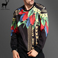 Aelfric Eden Moda Hombre Sudaderas París Diseño Ocio 3D Impreso Plumas Coloridas Hojas de Oro Cadenas de Patrón Masculino Sudadera