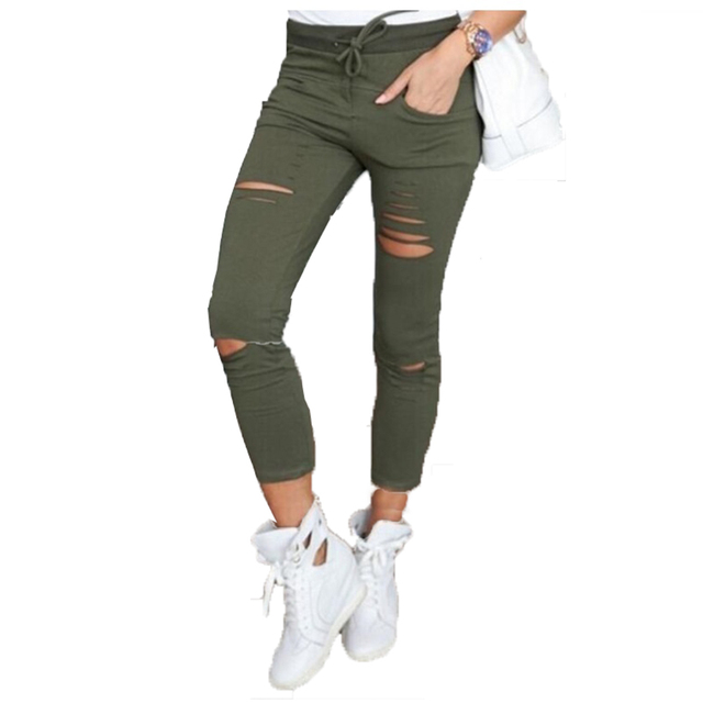 Capri Legging Women Stylish Boyfriend Clothing 2016 Fashion Slim Elastic Push Up Legging Sweat Pants Hole Sexy Leggings