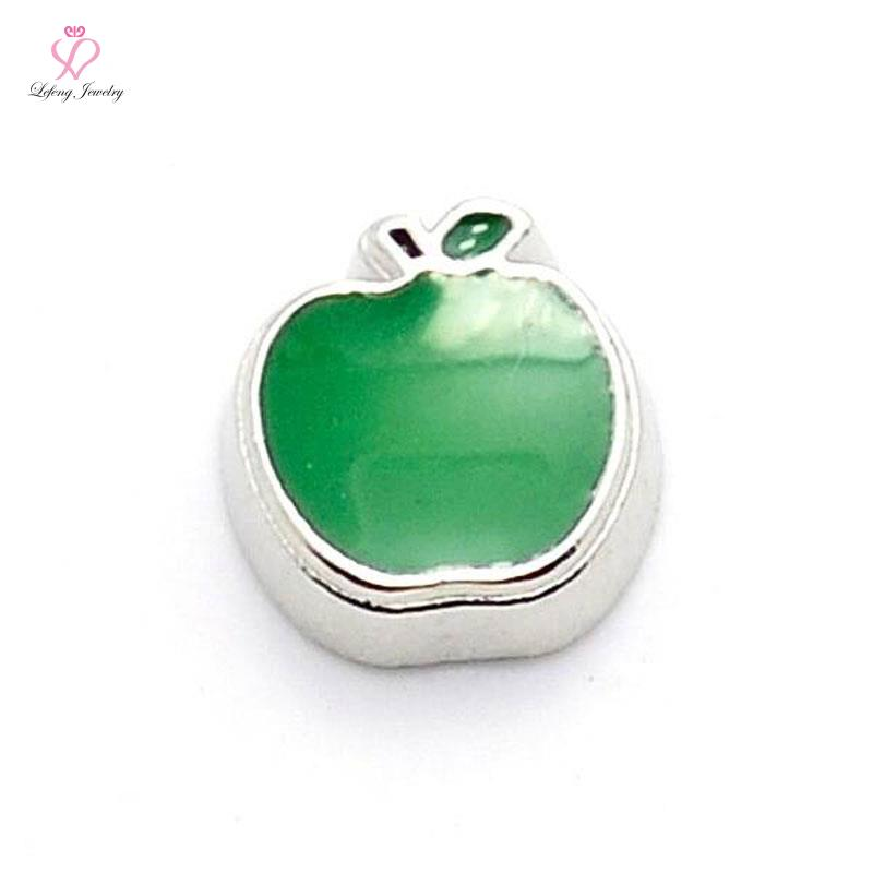 new cute Green Apple floating charms for living glass memory glass lockets FC279