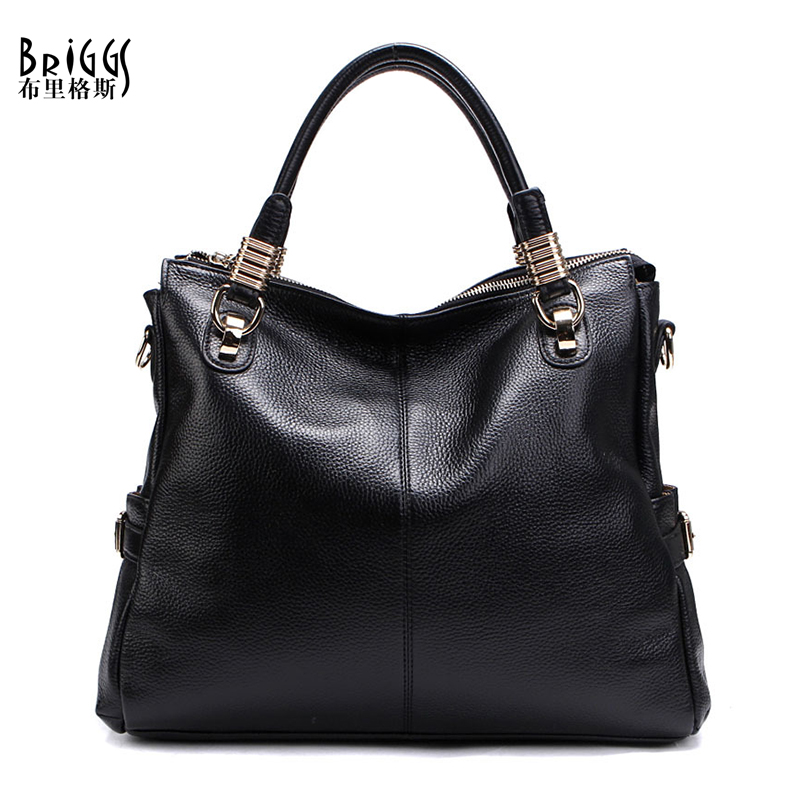 BRIGGS Genuine Leather Women Handbag Designer High Quality Leather Hand Bags Casual Tote Bag Women Shoulder Bag bolsa feminina