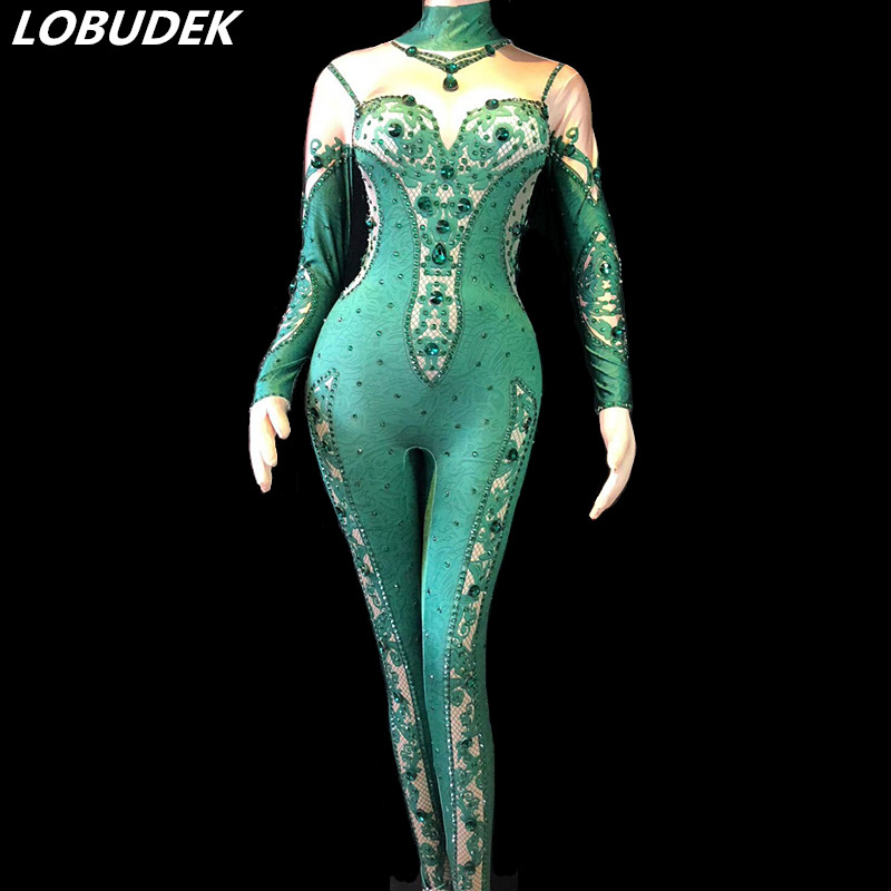 798c27498f Bright Green Rhinestones Jumpsuit Stretch Leotard Bodysuit Women Nightclub  Clothing Sexy Party Celebration Singer Stage Costumes