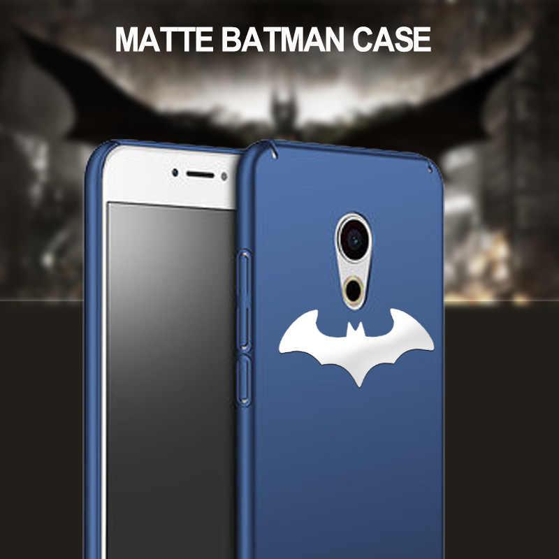 3D Perak Batman PC Case untuk Meizu 16 Plus Pro 16X16 S 16XS 15 7X8 MX6 meilan Note 9 8 M3S E2 Logam Matte Merasa Pas Kasus
