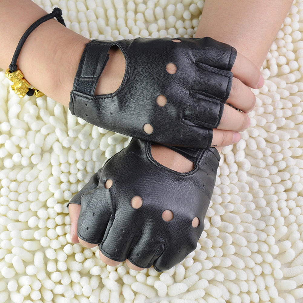 1 Pair PU Leather Fingerless Gloves Solid Female Half Finger Driving Women Men Fashion Haulage Motor Punk Gloves