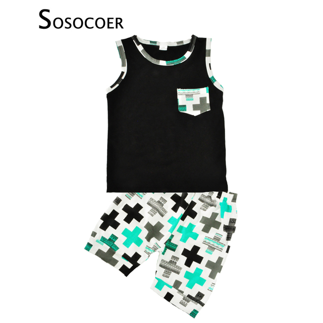 1558f36a9 SOSOCOER Baby Boy Clothing Set Summer 2017 New Cross Printed Sleeveless T  Shirts+Short Pants 2pcs Kids Boys Clothes Outfits Sets