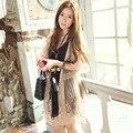 Hot 2015 de Primavera/Verano de La Manera de Señora Lace Crochet Cardigan Mujeres Crochet Lace Floral Cardigan Tops Blusa Albaricoque