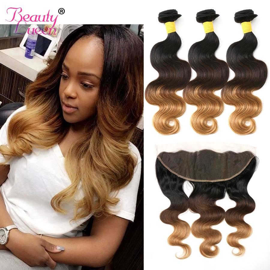 Snörning Frontal Closure With Bundles Ombre Brazilian Hair Weave - Mänskligt hår (svart)