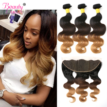 Snörning Frontal Closure With Bundles Ombre Brazilian Hair Weave Bundlar Body Wave Human Hair 3 Bundles With Closure 1b / 4/27 NonRemy
