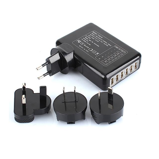 6 Portas USB Carregador de Parede de Viagem AC Adaptador De Energia De Vários Pacote de AU/UK/EUA/UE Plugs Preto