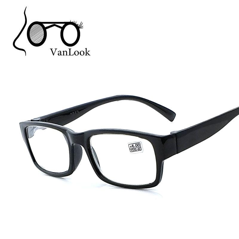 Gafas de lectura para hombres Mujeres +4.50 +5.00 +5.50 +6.00 Marco de plástico negro para mujeres Grado alto