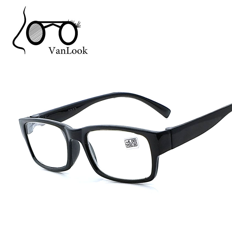 Kacamata Baca untuk Pria Wanita +4.50 +5.00 +5.50 +6.00 Bingkai Hitam Plastik Wanita