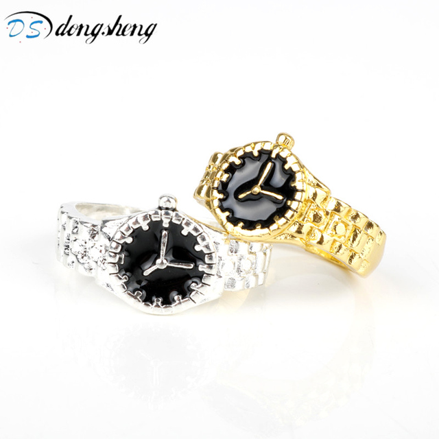 2bfdd312852 dongsheng Fashion Trendy Finger Ring Silver Gold Color Nautral Watch  personality style Rings Watch Ring Jewelry For Women Men-25