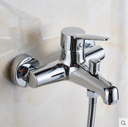 Miedzi Na ścianie Prysznic Kran Zawór Mieszający Mosiądz
