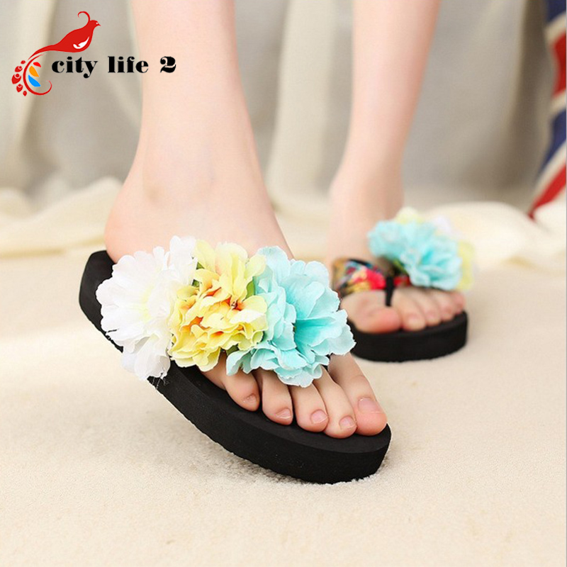 Flower Bohemia font b Women s b font Flip Flops Flat Beach Sandals Platform Shoes 2016